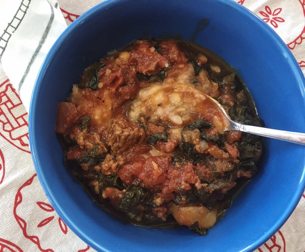 Bowl of Swiss Chard and Sausage Stew