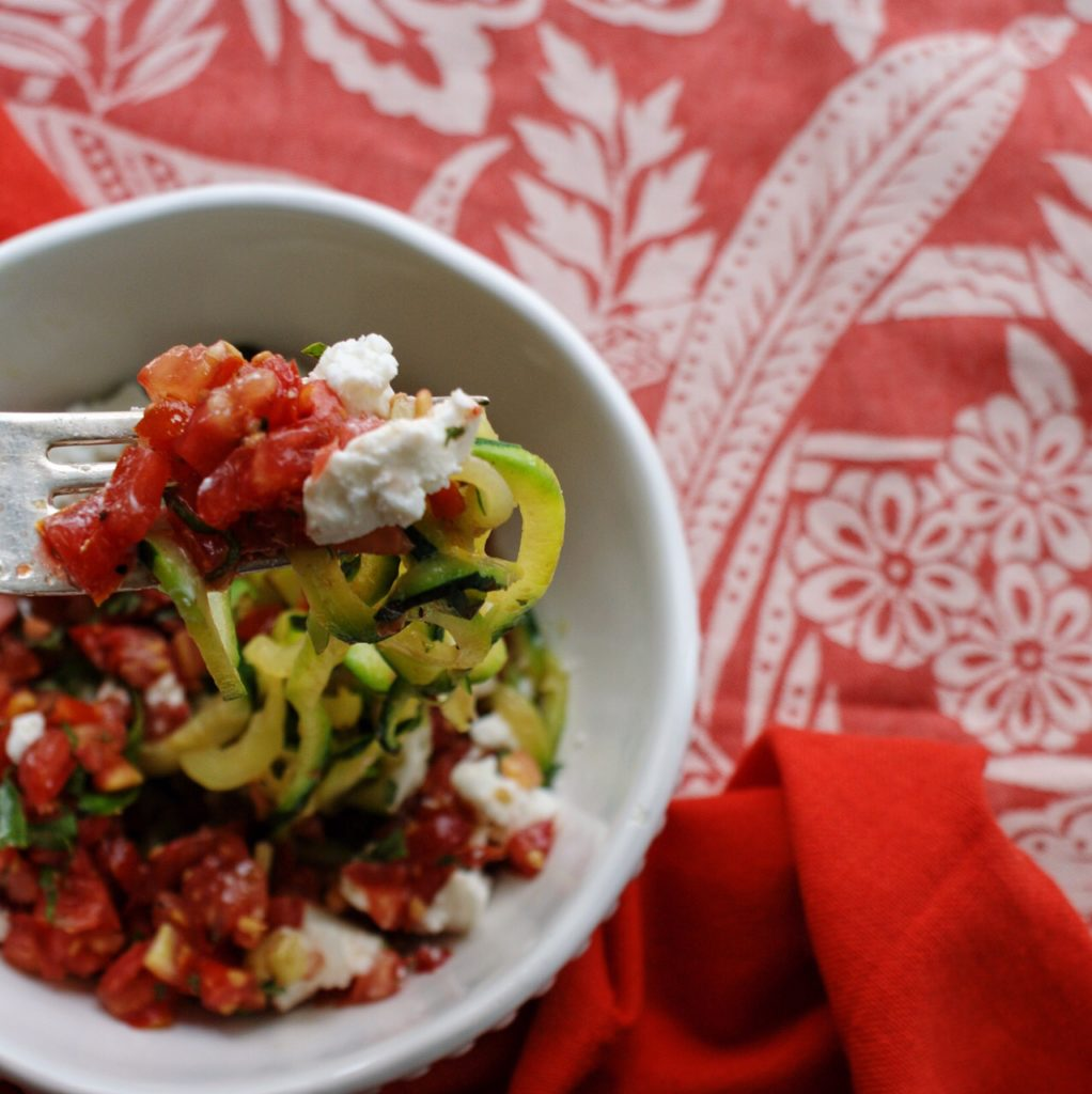 Raw Tomato Sauce over Zoodles