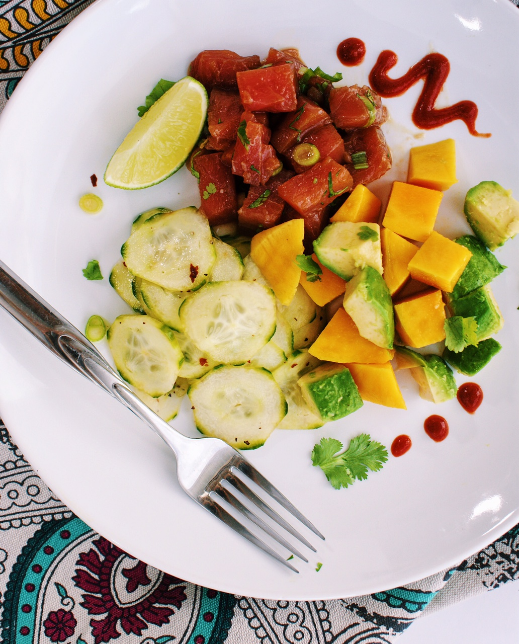 Poke Plate or Tuna with Spicy Cucumbers and Avocado