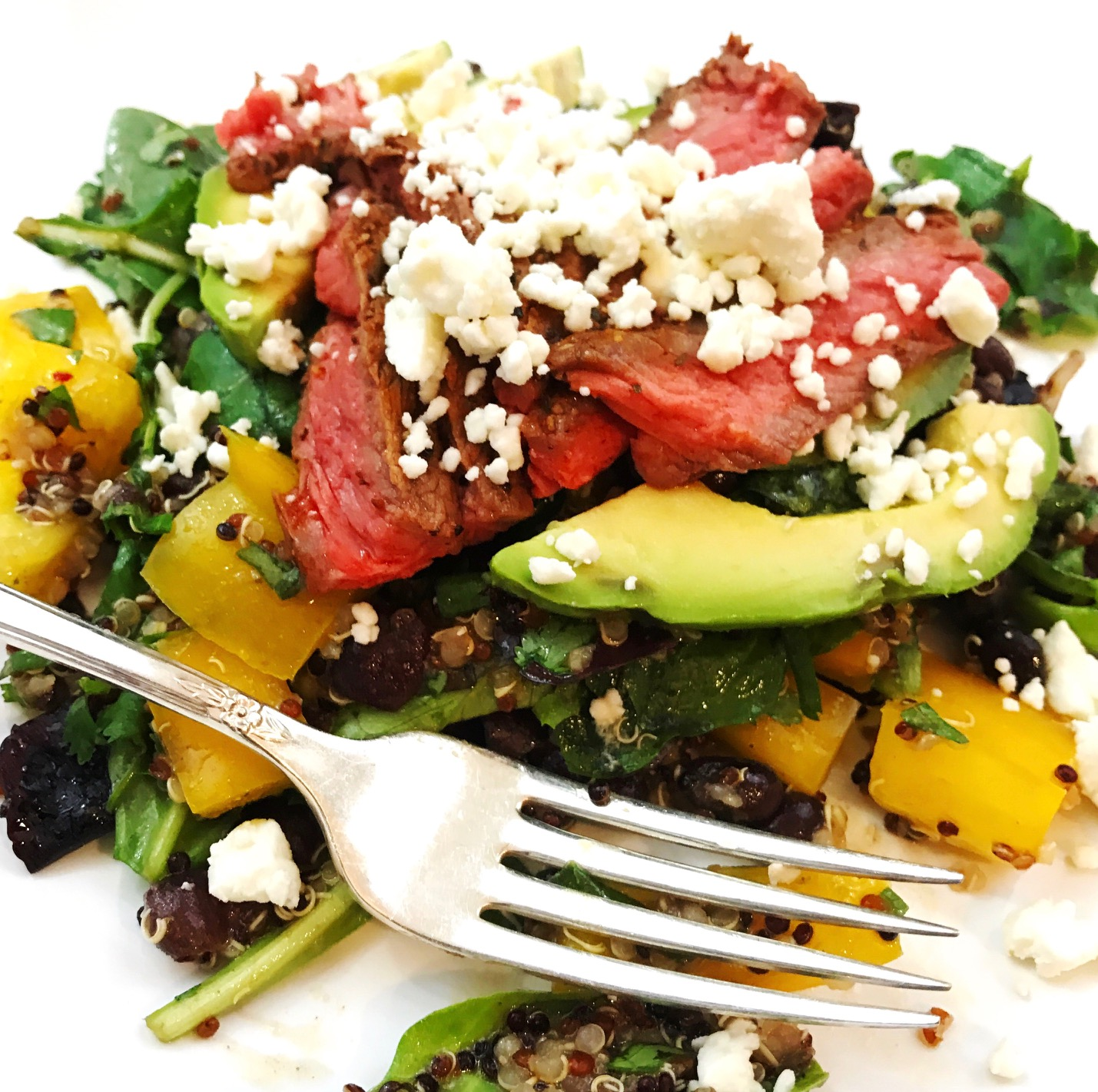 Spicy Steak Salad with Quinoa and Black Beans