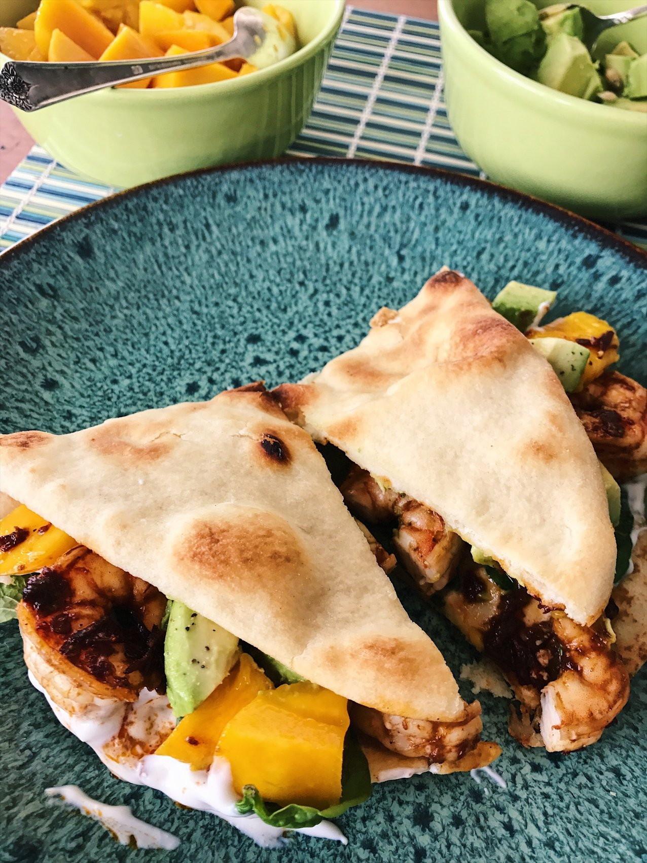 Shrimp and Mango Flatbread Foldover