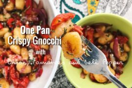 One Pan Crispy Gnocchi with Tomatoes, Onion and Bell Pepper